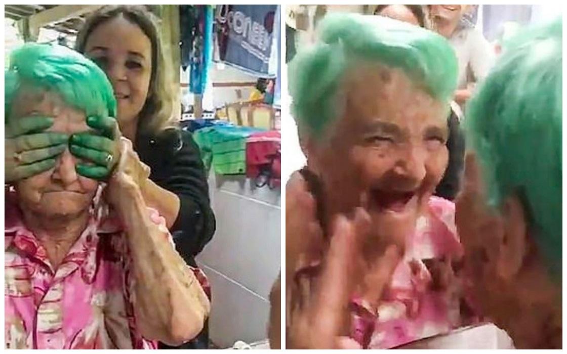 La abuelita que grita al ver su cabello teñido por primera vez