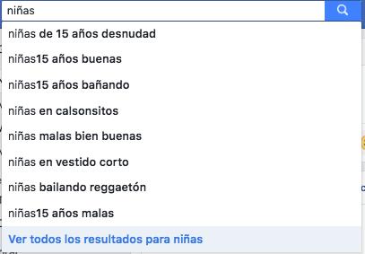 """¡Qué rayos México! Esto es lo que te sale en el buscador de Facebook cuando escribes """"niños"""" y """"niñas"""""""