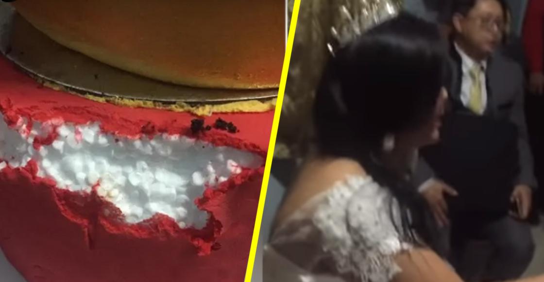 Se pasan: Estafan a pareja con un pastel de bodas de unicel