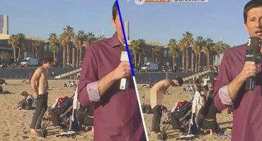 Noticiero transmitió en vivo por accidente a un hombre desnudo en la playa 