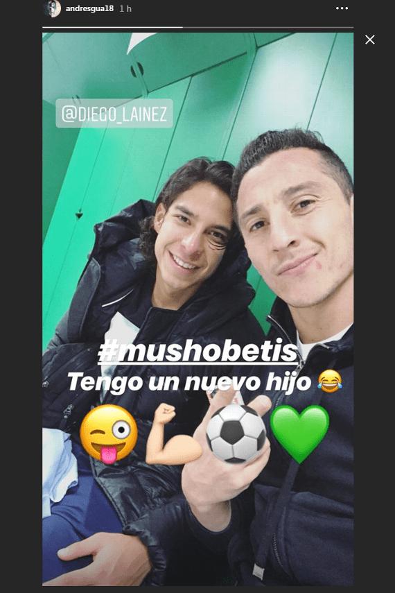 Andrés Guardado presumió a su nuevo 'hijo' del Betis: Diego Lainez