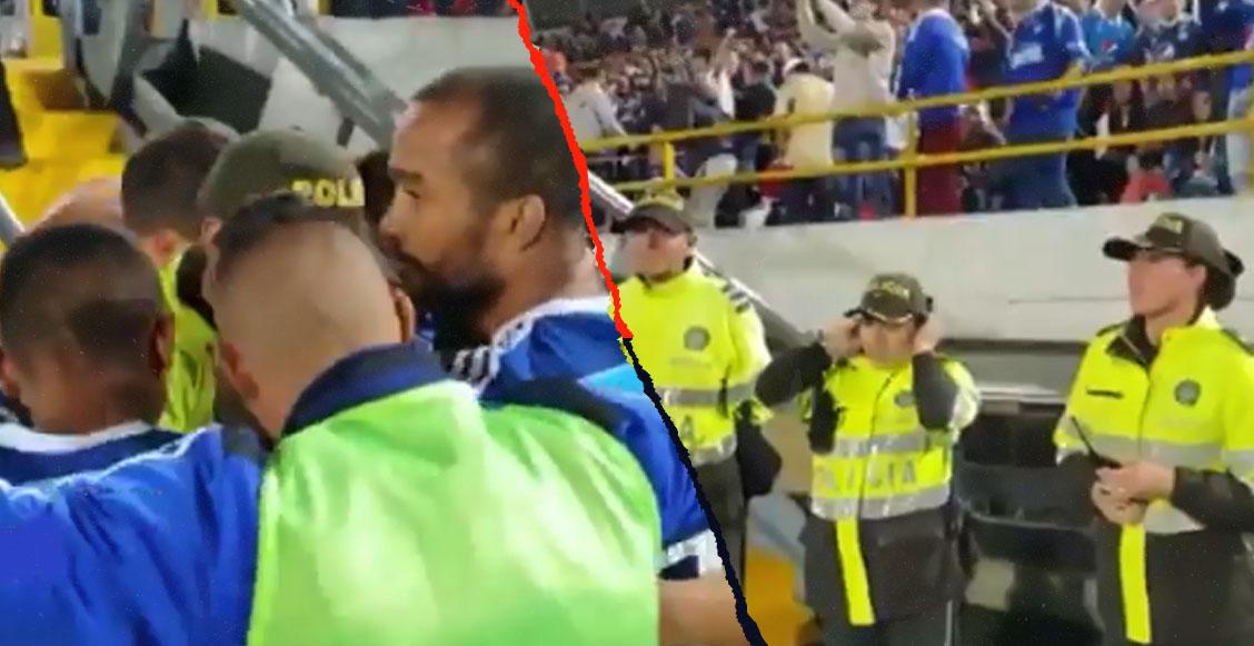 Jugadores de Millonarios festejaron gol con policías tras sufrir atentado con coche bomba