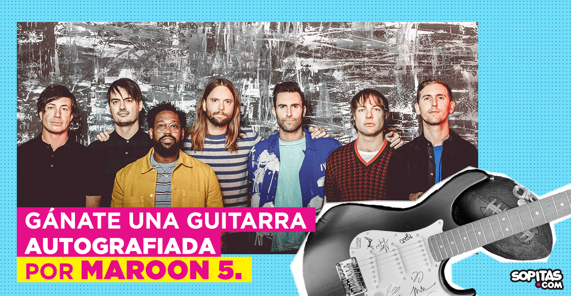 guitarra autografiada por Maroon 5