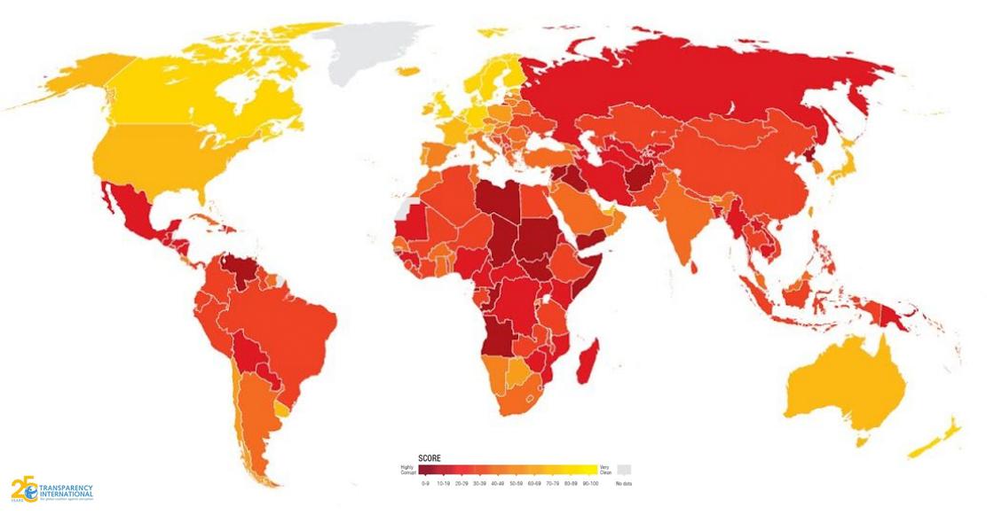 ¡Ah jijo! México ocupa el lugar 138 de 180 países en percepción de corrupción, según el IPC