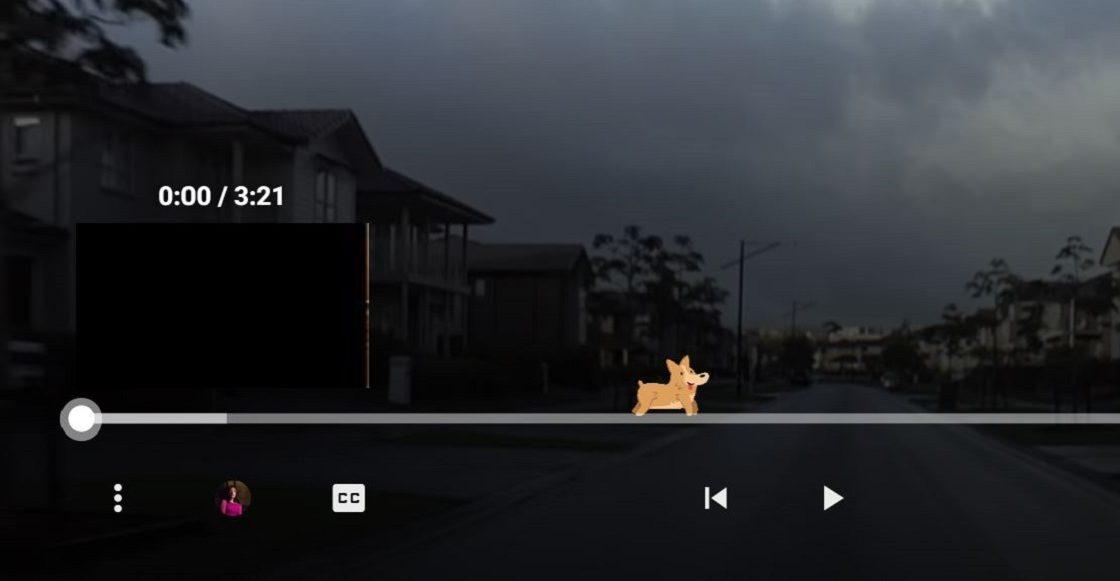 El perrito escondido en la barra de video de YouTube