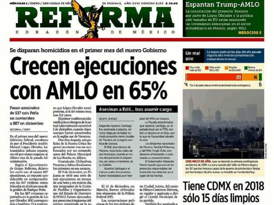 Portada Reforma 02/01/2019
