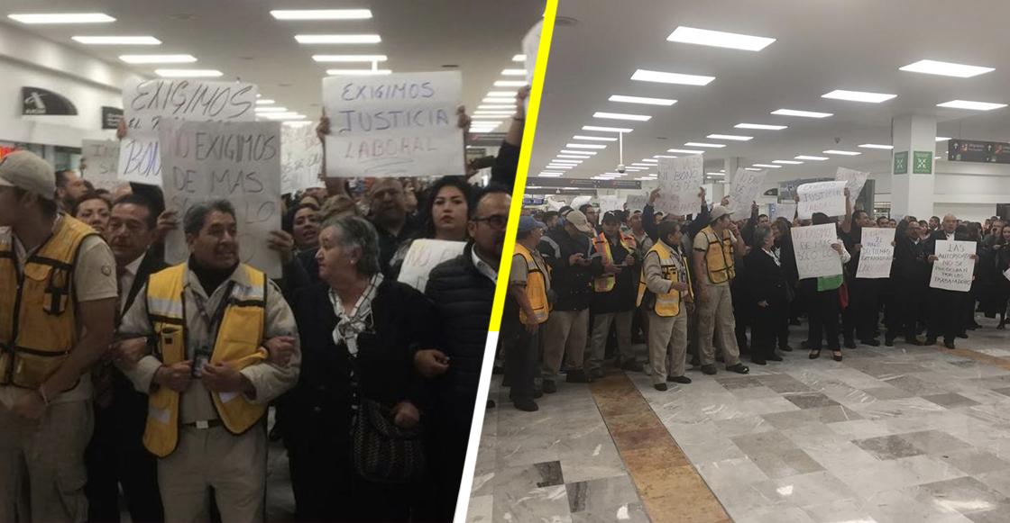Esta mañana trabajadores del AICM se manifestaron en la Terminal 1 ¿por qué?
