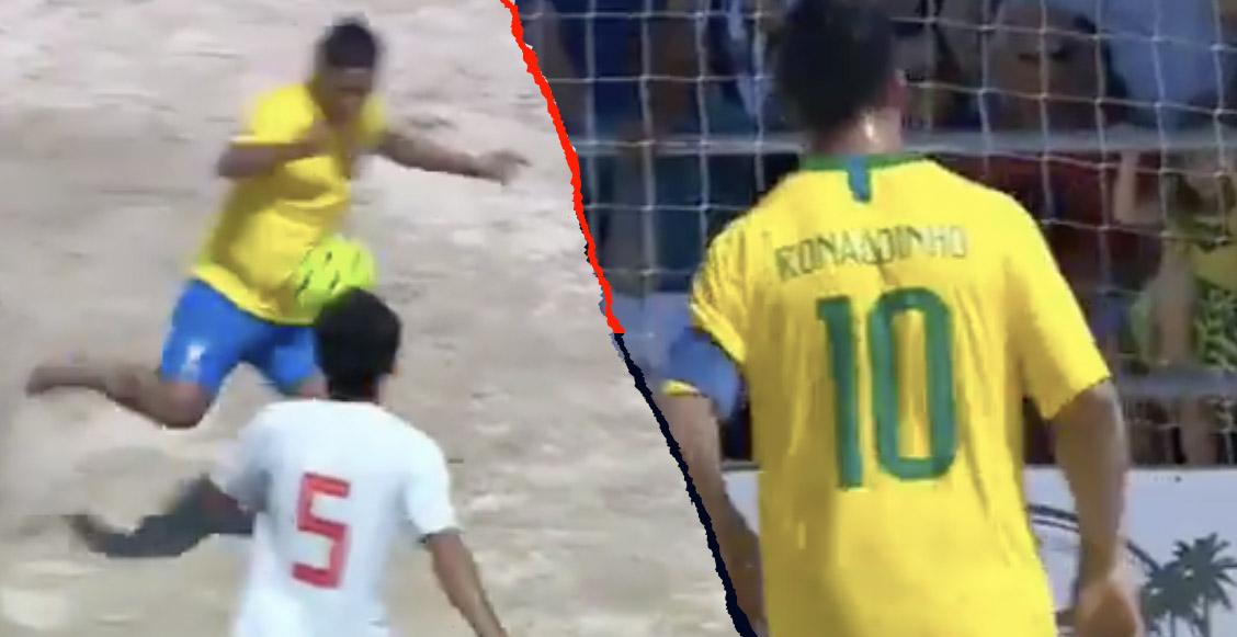 ¡Eres un Dios! Ronaldinho armó 'la fiesta' en un partido de futbol playa
