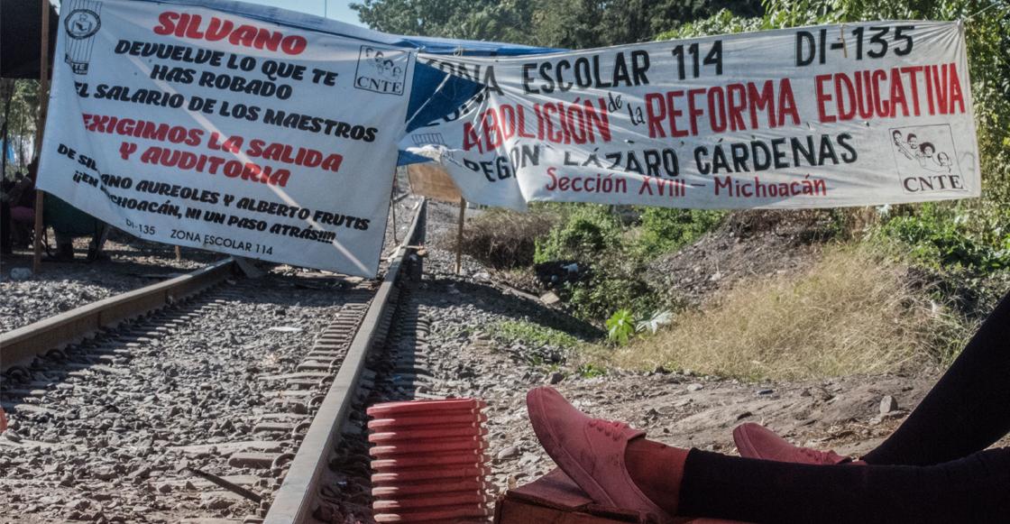 La CNTE mantiene bloqueos en tres puntos ferroviarios de Michoacán