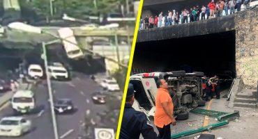 Combi con pasajeros cae de puente de Periférico en Naucalpan; deja 5 personas heridas
