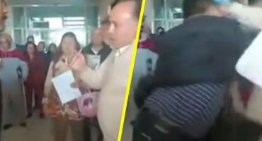 Hombre agarra a golpes a empleado de una clínica del IMSS, en el Estado de México