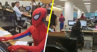 Como cuando renuncias con estilo y te presentas en tu último día disfrazado de Spider-Man