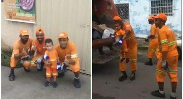 Con uniforme y todo: Así fue como un niño mostró su admiración por los recolectores de basura