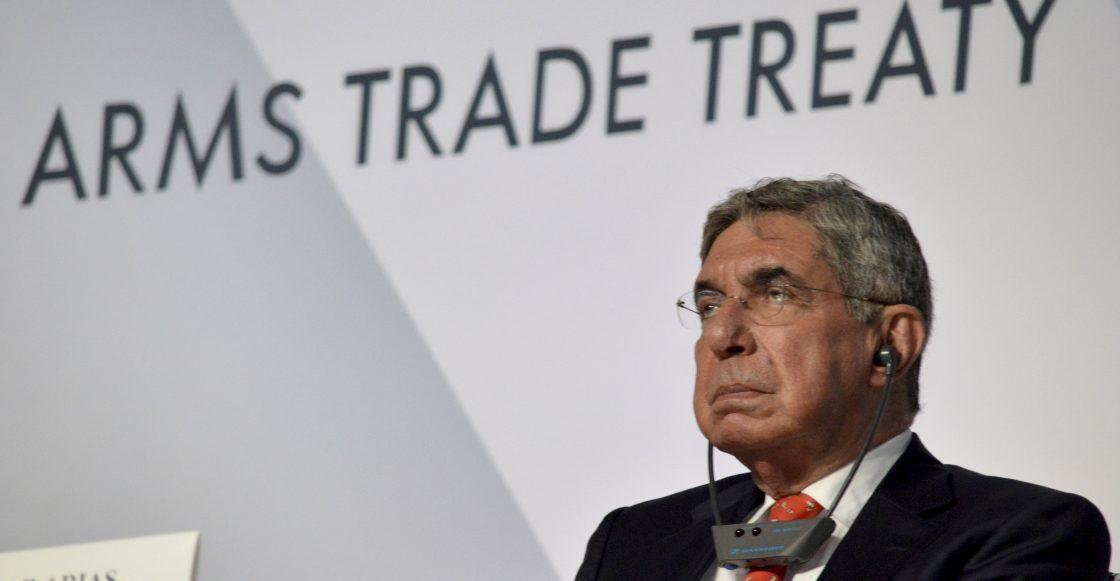 CANCUN, QUINTANA ROO, 24AGOSTO2015.- Oscar Arias ex presidente de Costa Rica y premio nobel de la paz durante la Primera Conferencia de los Estados Partes del Tratado sobre el Comercio de Armas, durante la Primera Conferencia de los Estados Partes del Tratado sobre el Comercio de Armas.