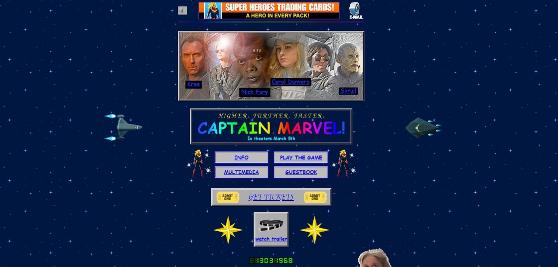 Captain Marvel - Sitio web noventero
