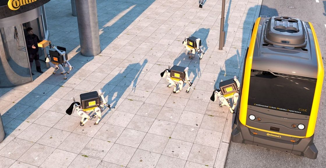 Perros robots que entregan el correo