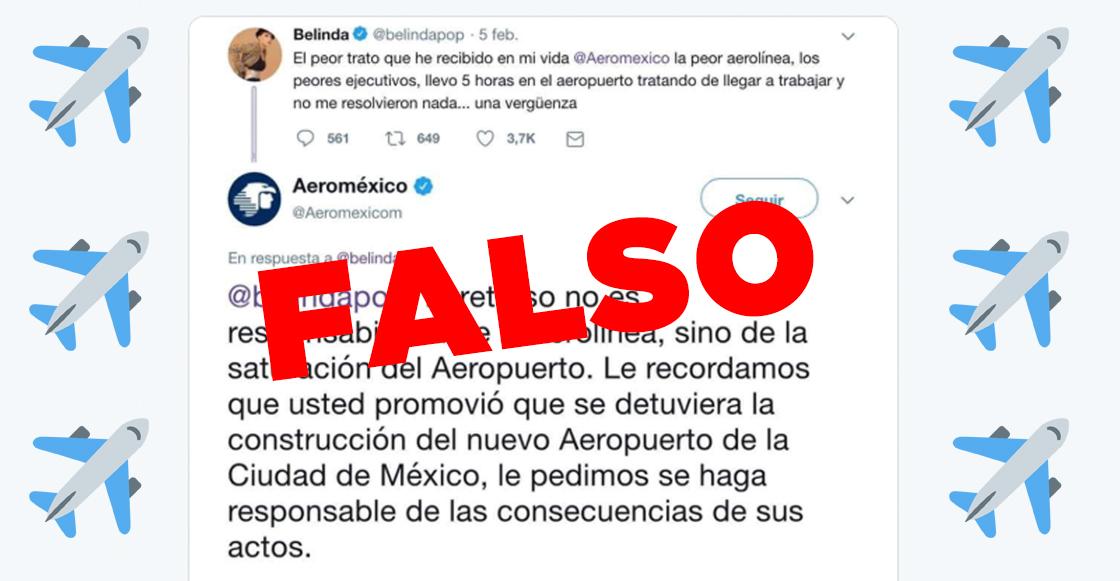 OJO ACÁ: La 'épica respuesta' de Aeroméxico a Belinda en Twitter es FALSA