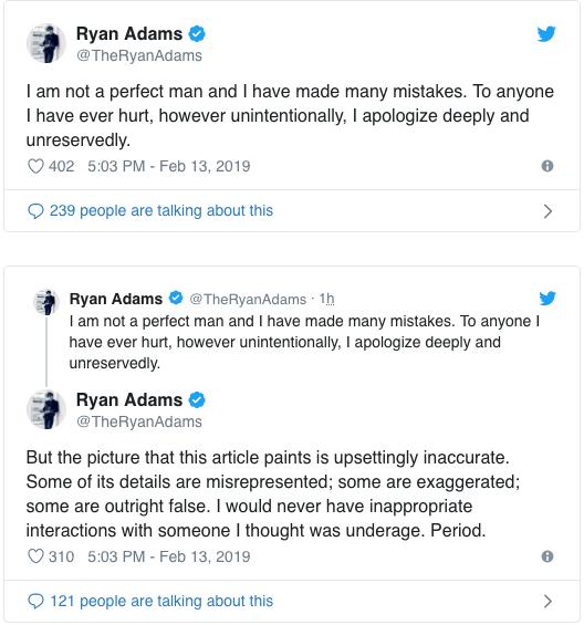 Mandy Moore y más famosas acusan a Ryan Adams de abuso; él responde