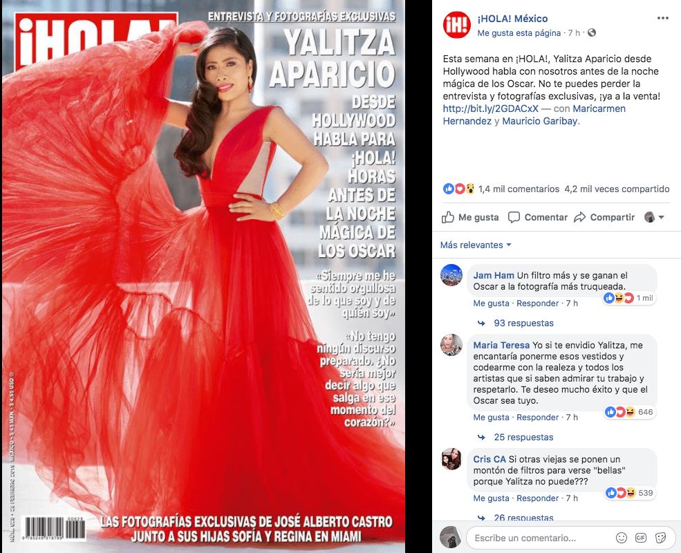 A la revista ¡Hola! se le pasa la mano con el Photoshop a Yalitza Aparicio y así reaccionó la gente