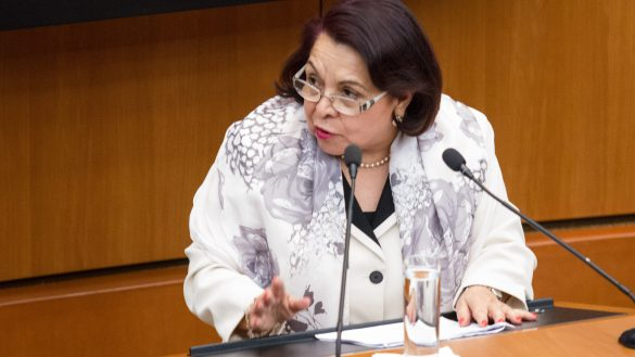 CIUDAD DE MÉXICO, 04MARZO2019.- Celia Maya García, candidata a magistrada de la Suprema Corte de Justicia de la Nación, durante su comparecencia en el H. Senado de la República.