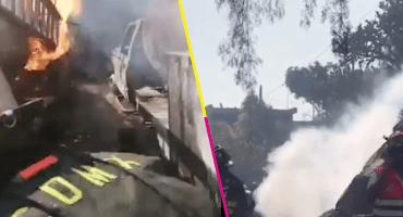 Reportan incendio de 2 pipas de gas en Milpa Alta CDMX; hay varios heridos