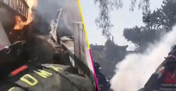 Reportan el incendio de 2 pipas de gas en Milpa Alta CDMX; hay varios heridos