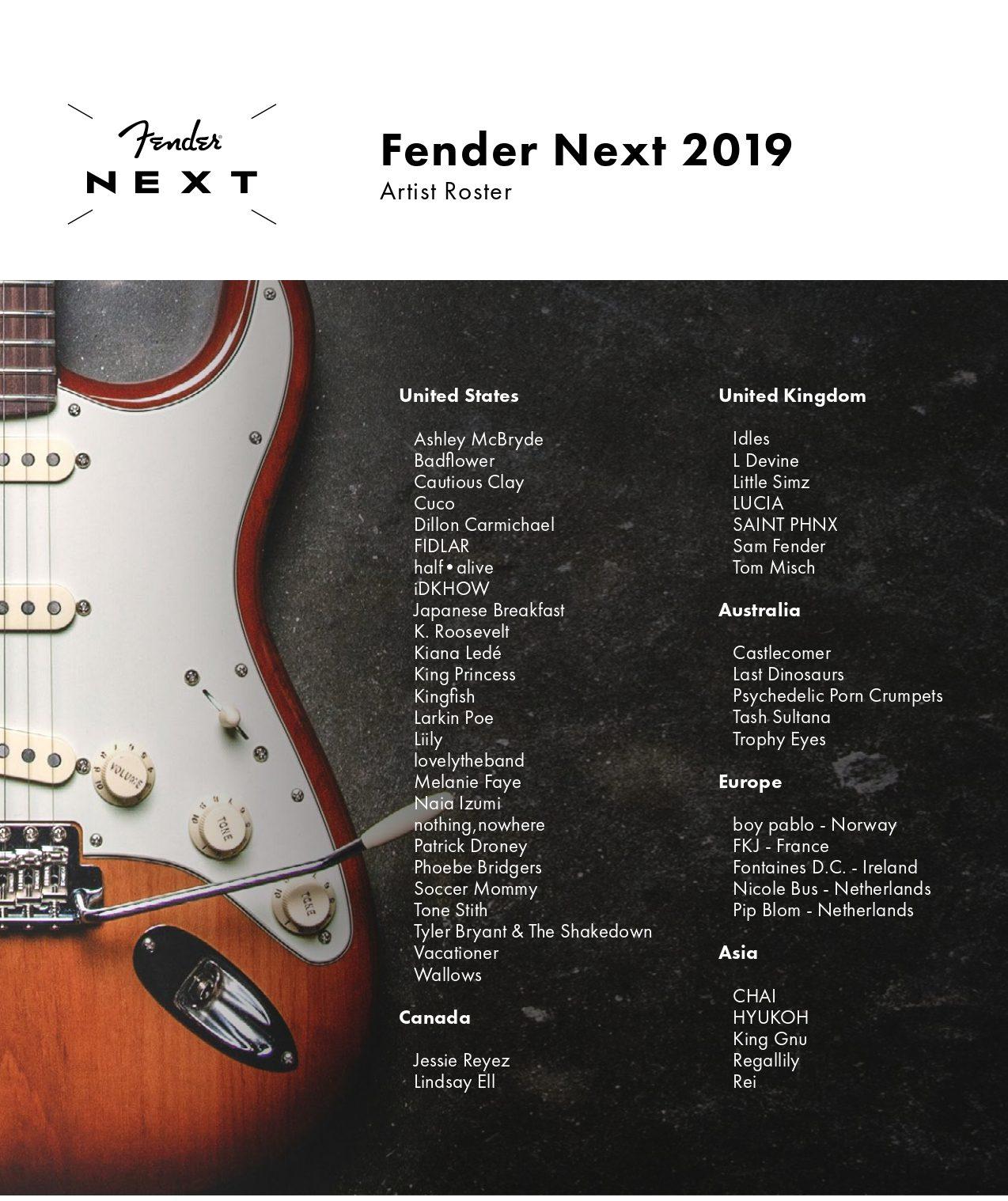 Fender eligió a los grandes guitarristas de la escena musical actual... y no hay latinos