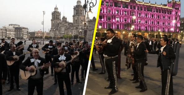 Mariachis cantan 'al pie de la ventana' de AMLO para que haya seguridad en Garibaldi
