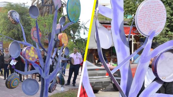 Y en Torreón, inauguran Plaza de las Mujeres... con árbol de sartenes
