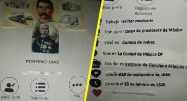 Creatividad nivel: Un niño de primaria hizo la biografía de Porfirio Díaz como un perfil de Facebook