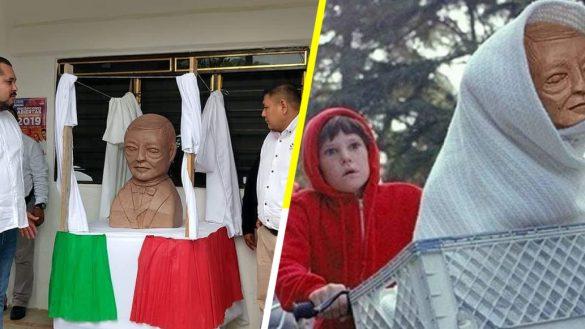 Y nadie hace nadaaaa: Inauguran busto de Benito Juaréz que parece alien y la memiza se deja venir