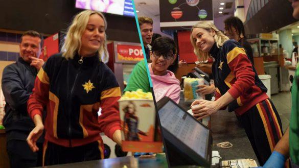 ¡Captain Marvel sorprendió a sus fans en un cine... y todos adoraron su traje!