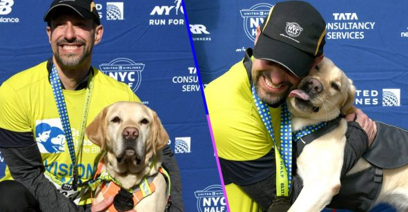 Un corredor ciego y sus perritos hacen historia al completar la media maratón de Nueva York