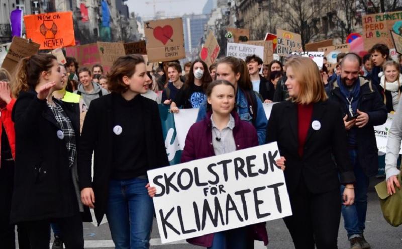 Gureta Thunberg en marcha