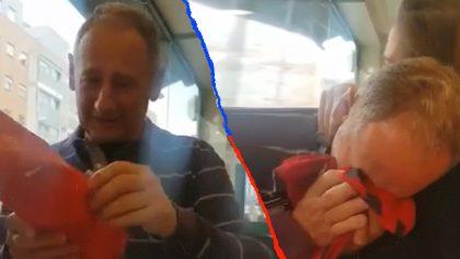 Las lágrimas de un hombre al recibir la playera del Osasuna con el nombre de su hija