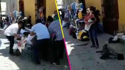 Presuntos inspectores retiran de forma violenta puesto de mujer indígena en Oaxaca