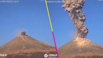Este es el video del momento exacto en el que el Popocatépetl cambió a Fase 3
