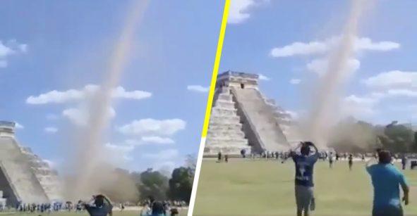 ¿Será Kukulcán? Captan remolino cerca de pirámide en Chichen Iztá