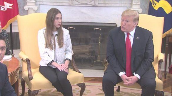 Fabiana Rosales y Donald Trump en la Casa Blanca