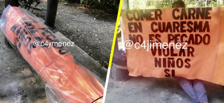 El señor de los carteles se durmió enredado en una de sus pancartas y lo confunden con embolsado