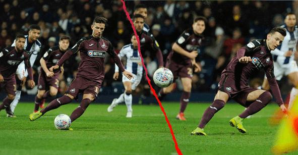 Jugador del Swansea quiso imitar el penal de Messi y sólo causó lástima