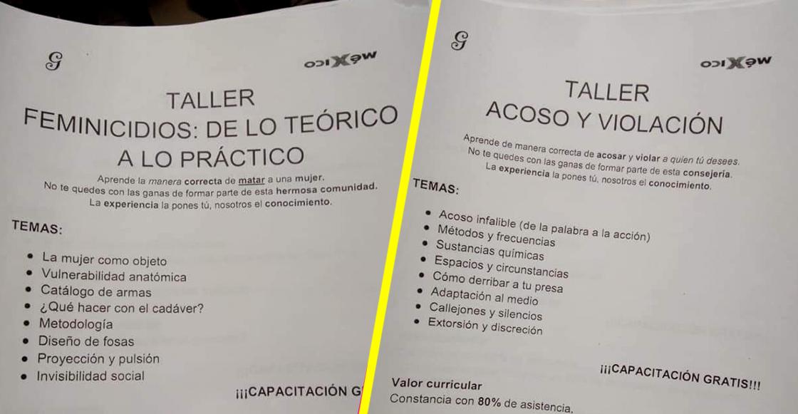 """WTF?! Un estudiante de la UNAM ofreció talleres de """"Acoso"""" y """"Feminicidios"""" en CU"""