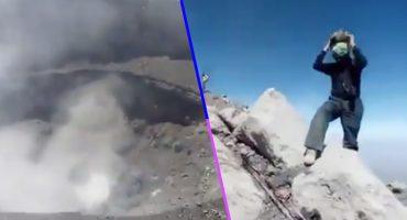 Imprudencia nivel: jóvenes se suban al cráter del Popocatépetl para grabar actividad volcánica 🙄