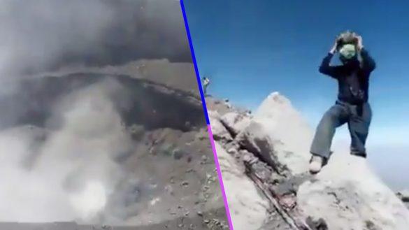 Imprudencia nivel: jóvenes se suban al cráter del Popocatépetl para grabar actividad volcánica