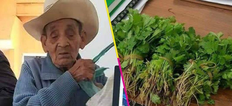 Un viejito intentó pagar su acta de nacimiento con manojos de cilantro porque no tenía dinero
