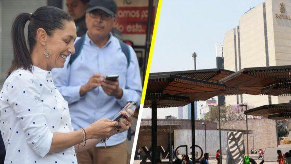 Claudia Sheinbaum inaugura nuevo punto de Wifi en la Glorieta de Insurgentes
