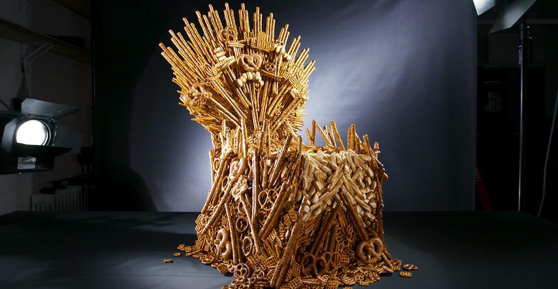 ¿Hambre? Checa el trono de Game of Thrones hecho únicamente con pretzels