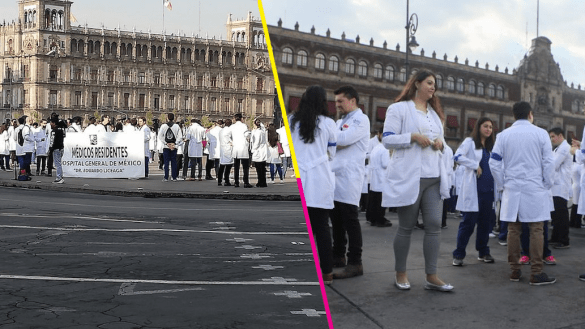 Médicos protestan frente a Palacio Nacional; exigen el pago de sus sueldos