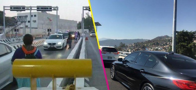 Manifestantes toman caseta de la México-Cuernavaca y se desata el caos vial