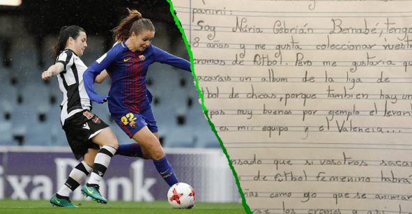 Nuria Cebrián, la niña de 8 años que le escribió a Panini para pedir un álbum de futbol femenil
